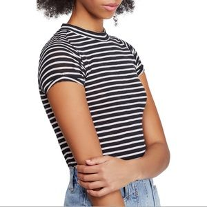 Free People Striped Crew  neck top